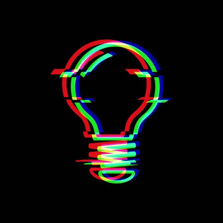Light Bulb line symbol in glitch style. Electric lamp. Icon of idea isolated on black background. Solution thinking concept. Modern digital pixel distorted design. Television video error shape.