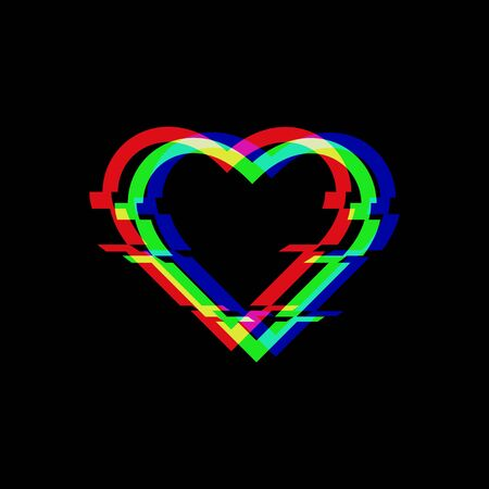 Vector symbol of heart in glitch style. Icon of love isolated on black background. Modern digital pixel distorted design. Television video error shape.