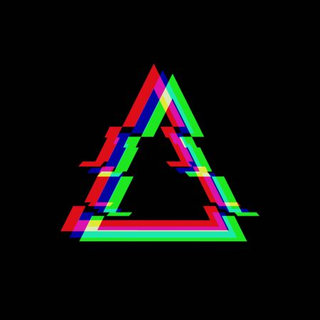 Vector symbol of triangle in glitch style. Geometric glitched Icon isolated on black background. Modern digital pixel distorted design. Television video error shape.