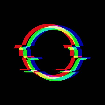 Vector symbol of circle in glitch style. Round Geometric glitched Icon isolated on black background. Modern digital pixel distorted design. Television video error shape. Stock Illustratie