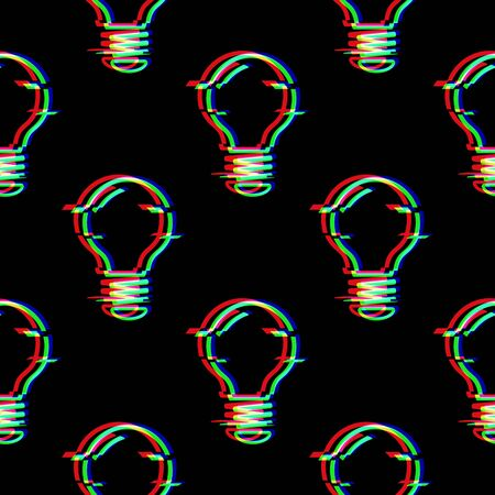 Vector seamless pattern with Light Bulb line symbol in glitch style. Electric lamp. Icon of idea isolated on black background. Solution thinking concept. Modern digital pixel distorted design. Stock Illustratie