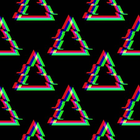 Vector seamless pattern with symbol of triangle in glitch style. Geometric glitched Icon isolated on black background. Modern digital pixel distorted design. Television video error shape.