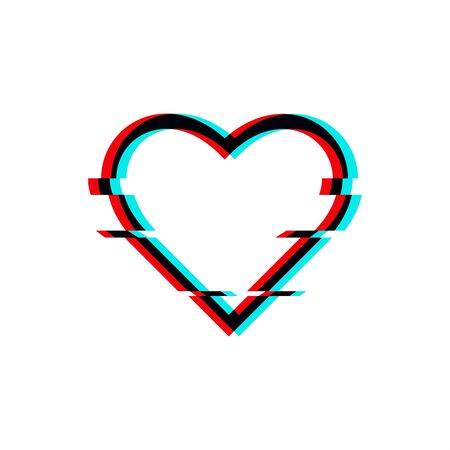 Vector glitched symbol of heart in glitch style. Icon of love isolated on white background.