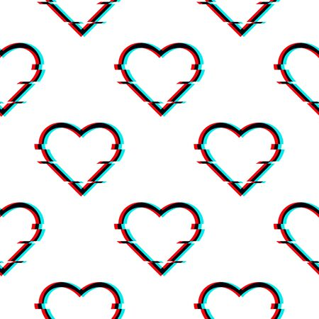 Vector glitched seamless pattern with symbol of heart in glitch style. Icon of love isolated on white background