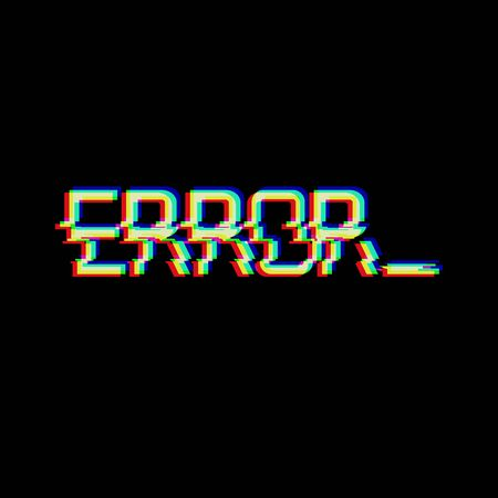 Vector symbol of word ERROR in glitch style. Geometric letters glitched Icon isolated on black background. Digital pixel text distorted design.