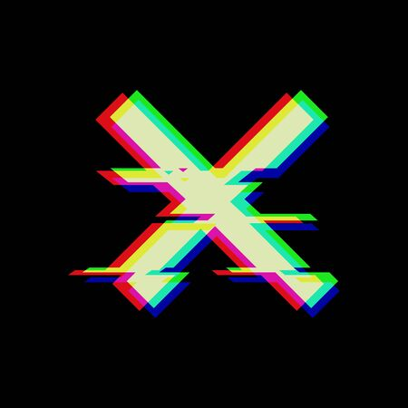 Vector symbol of cross in glitch style. Geometric glitched Icon isolated on black background. Modern digital pixel distorted design. Television video error shape. Creative template mark Ilustração