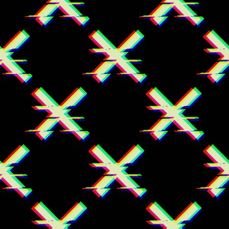 Vector seamless pattern with symbol of cross in glitch style. Geometric glitched Icon isolated on black background. Modern digital pixel distorted design. Television video error shape. Creative mark.