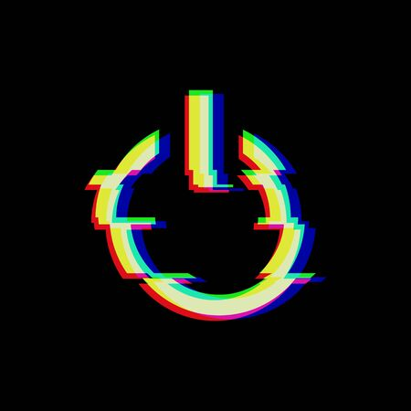 Vector symbol of button power in glitch style. Geometric glitched Start Icon isolated on black background. Modern digital pixel distorted design. Television video error shape. Creative push mark.