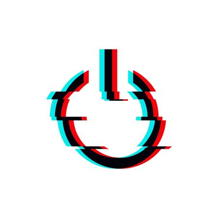 Vector symbol of button power in glitch style. Geometric glitched Start Icon isolated on white background. Modern digital pixel distorted design. Television video error shape. Creative push mark.