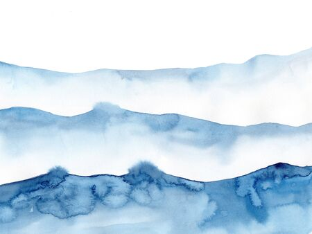 Watercolor blue winter snowing background, Look like wave and sea. Original painting on watercolour paper. Illustration for decoration element. Backdrop with ocean water. Minimalism, monochromatic