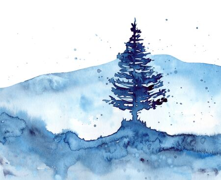 Watercolor forest and blue Christmas background. Hand painting Illustration for print, texture, wallpaper or element. Beautiful watercolour wood isolated on white background.