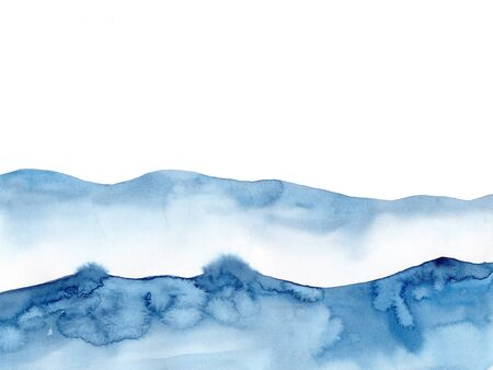 Watercolor blue winter snowing background, Look like wave and sea. Original painting on watercolour paper. Illustration for decoration element. Backdrop with ocean water. Minimalism, monochromatic.