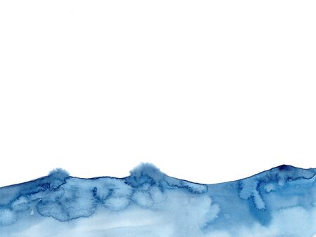 Watercolor blue winter snowing background, Look like wave and sea. Original painting on watercolour paper. Illustration for decoration element. Backdrop with ocean water. Minimalism modern style