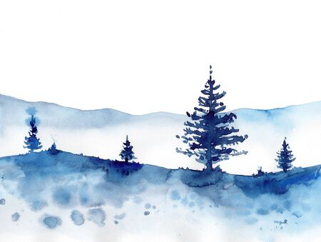 Watercolor winter forest and blue snow background. Hand painting Christmas Illustration for print, texture, wallpaper or element. Beautiful watercolour wood isolated on white.