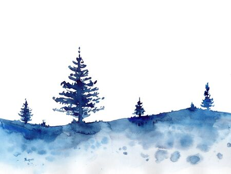 Watercolor winter design forest and blue Christmas snow background. Hand painting Illustration for print, texture, wallpaper or element. Beautiful watercolour wood isolated on white For cards Stockfoto