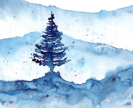Watercolor winter snow forest and blue background. Hand painting Illustration for print, texture, wallpaper or element. Beautiful watercolour wood isolated on white background. Stockfoto