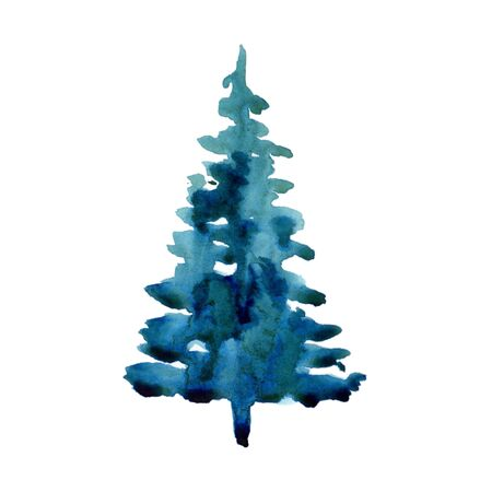 Watercolor winter christmas tree isolated on white background. Hand painting Illustration element for print, texture, wallpaper or greeting card. Blue and green color. Beautiful watercolour art. Pine