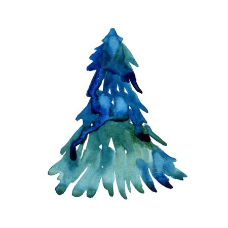 Watercolor winter christmas fir isolated on white background. Spruce Illustration element for print, texture, wallpaper or greeting card. Blue and green color. Beautiful watercolour pine art
