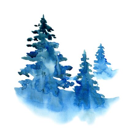 Watercolor winter snow forest isolated on white background. Treescape with pine and fir Illustration landscape for print, texture, wallpaper, greeting card. Blue and green color Beautiful watercolour Zdjęcie Seryjne