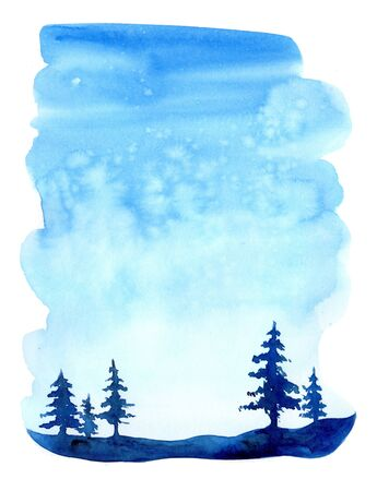 Watercolor christmas winter landscape with snow and trees. Treescape with pine and fir. Illustration landscape for print, texture, wallpaper, greeting card. Blue color. Beautiful nature watercolour