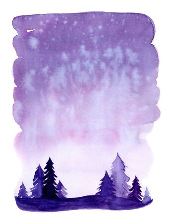 Watercolor christmas winter landscape with snow and trees. Xmas pine and fir. Illustration with snowing for print, texture, wallpaper, background, greeting card. Purple violet color. watercolour Zdjęcie Seryjne