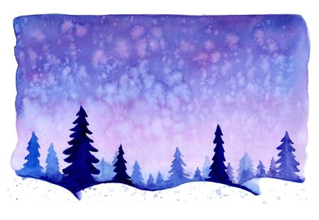 Watercolor christmas winter landscape with snow and trees. Treescape with pine and fir. Illustration landscape for print, texture, wallpaper, greeting card. Blue color. Beautiful nature watercolour.