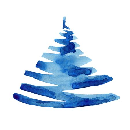 Watercolor winter christmas tree isolated on white background. Hand painting Illustration spruce for print, texture, wallpaper or greeting card. Blue color. Beautiful watercolour art. Pine tree.