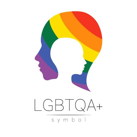 Vector LGBT symbol. Pride flag background. Icon for gay, lesbian, bisexual, transsexual, queer and allies person. Can be use for sign activism, psychology or counseling. LGBT isolated on white