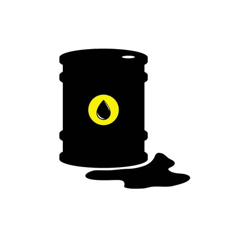 Vector sign of oil. Black symbol petroleum isolated on white background. Barrel silhouette and spot liguid. Industry of exploration, illustration. Petrochemical and market