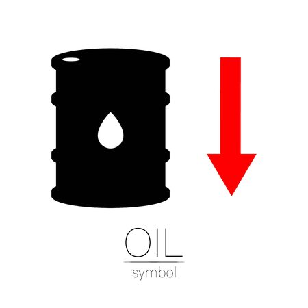 Vector sign of oil. Statistics down, global financial crisis. Black symbol petroleum isolated on white background. Barrel silhouette and spot liguid. Industry of exploration, illustration Stock fotó - 142636524