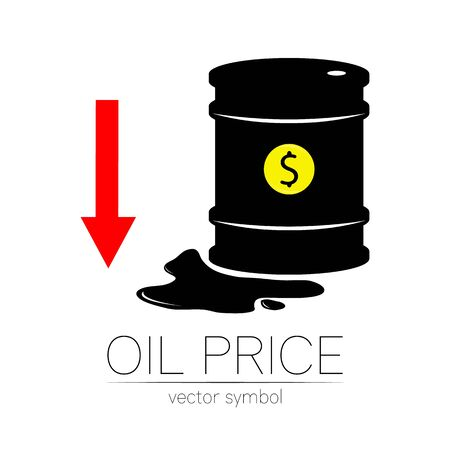 Vector sign of oil. Statistics dollar down, global financial crisis. Black symbol petroleum isolated on white background. Barrel silhouette and spot liguid. Industry of exploration, illustration