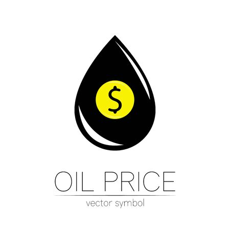 Vector sign of spot liquid oil. Dollar money. Black symbol petroleum isolated on white background. Industry of exploration.