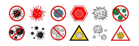 Set of 12 2019-nCoV bacteria isolated on white background. few Coronavirus in red circle vector Icon. COVID-19 bacteria corona virus disease sign. SARS pandemic concept symbol. Pandemic. Human health .