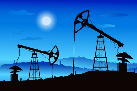 Illustration of oil derrick rig. Black silhouette on blue gradient moon night background. . Industry of exploration and petrochemical. Petroleum picture. Landscape