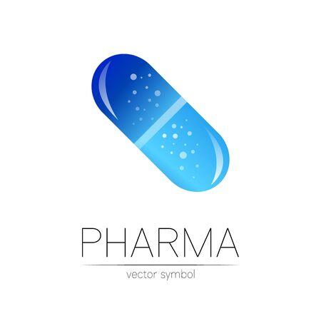 Pharmacy vector symbol for pharmacist, pharma store, doctor and medicine. Modern design vector logo on white background. Pharmaceutical blue icon logotype tablet pill capsule. People health industry
