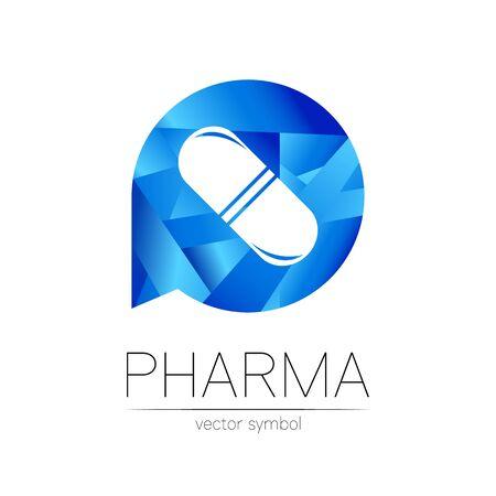 Pharmacy vector symbol for pharmacist, pharma store, doctor and medicine. Modern design vector logo on white background. Pharmaceutical blue icon logotype tablet pill capsule. People health industry Illusztráció