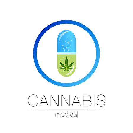Cannabis in the tablet pill capsule with circle vector logotype for medicine and doctor. Medical marijuana symbol. Pharmaceuticals with plant and leaf for health. Concept sign of green herb. BLue