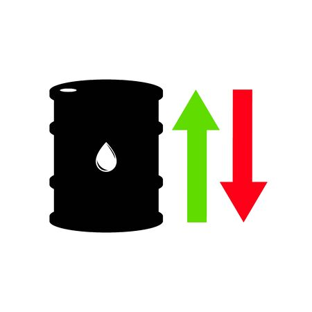 Vector sign of oil. Statistics up and down, global financial crisis. Black symbol petroleum isolated on white background. Barrel silhouette and spot liguid. Industry of exploration Illustration