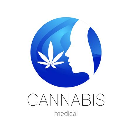 Cannabis vector  for medicine and doctor. Medical marijuana symbol. Pharmaceuticals with plant and leaf for health. Concept sign of green herb. Profile human silhouette head in blue circle Illusztráció
