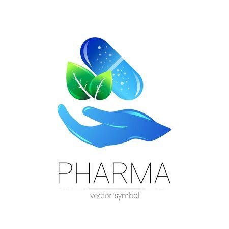 Pharmacy vector symbol with green leaf for pharmacis Illusztráció