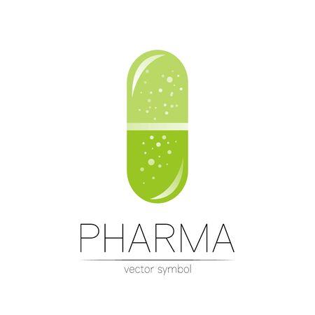 Pharmacy vector symbol for pharmacist, pharma store, doctor and medicine