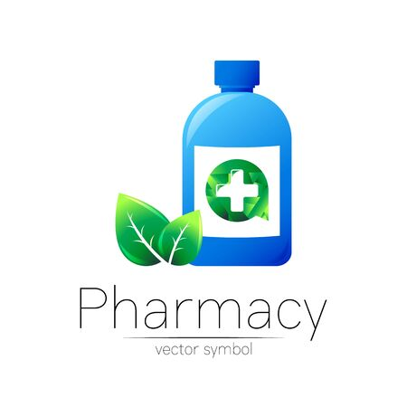 Pharmacy vector symbol with blue bottle and cross in green circle with leaf