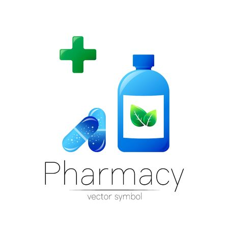 Pharmacy vector symbol with blue bottle and cross in circle