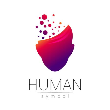 Vector symbol of human head. Person face. Red violet color isolated on white. Concept sign for business, science, psychology, medicine, technology. Creative sign design Man silhouette.