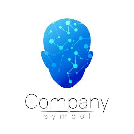 Vector symbol of human head. Person face. Blue color isolated on white. Concept sign for business, science, psychology, medicine, technology. Creative sign design Man silhouette. Illustration