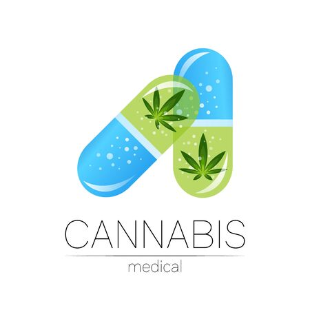 Cannabis in the 2 tablet pill capsule Illustration
