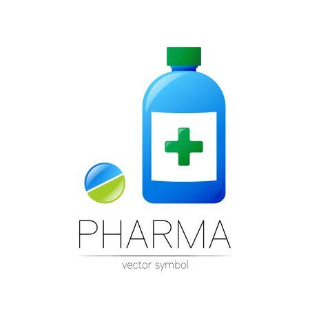 Pharmacy vector symbol of blue bottle with green cross