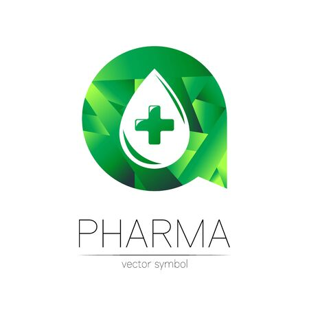 Pharmacy vector symbol of drop with cross in green circle