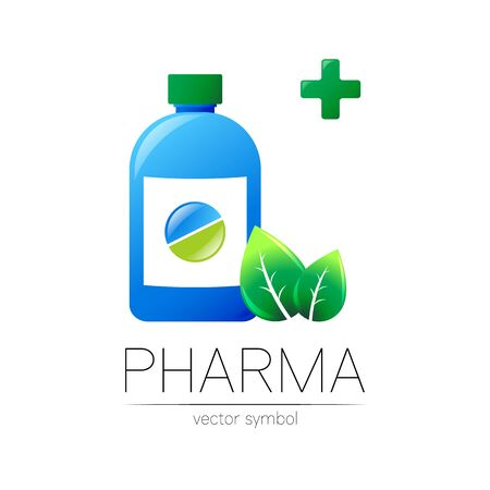 Pharmacy vector symbol with blue bottle and green pill tablet