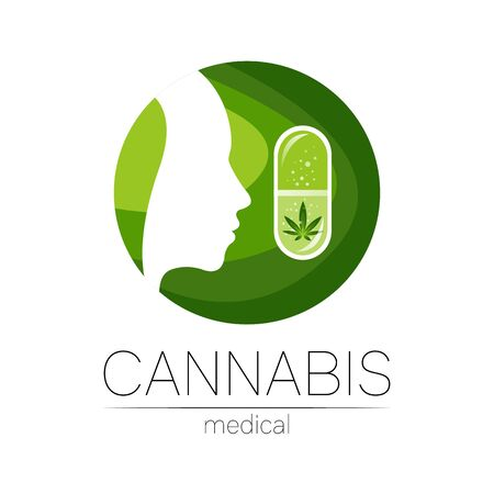 Cannabis in the tablet pill capsule vector logotype for medicine and doctor. Medical marijuana symbol. Pharmaceuticals with plant and leaf for health. . Profile human silhouette head in green circle